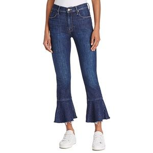MOTHER Blue Fray High Rise Flared Jeans
